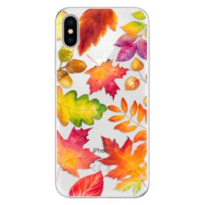 Silikonové pouzdro iSaprio (mléčně zakalené) Podzimní Lístečky na mobil Apple iPhone X