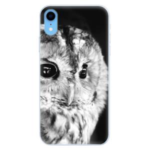 Silikonové pouzdro iSaprio (mléčně zakalené) BW Sova na mobil Apple iPhone XR