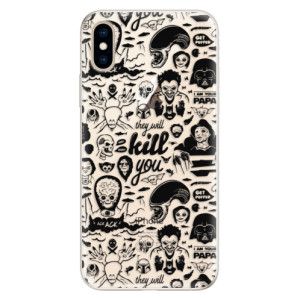 Silikonové pouzdro iSaprio (mléčně zakalené) Komiks 01 black na mobil Apple iPhone XS