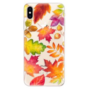 Silikonové pouzdro iSaprio (mléčně zakalené) Podzimní Lístečky na mobil Apple iPhone XS Max