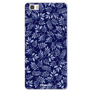 Silikonové pouzdro iSaprio (mléčně zakalené) Blue Leaves 05 na mobil Huawei P8 Lite