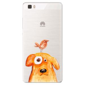 Silikonové pouzdro iSaprio (mléčně zakalené) Pejsek a Ptáček na mobil Huawei P8 Lite