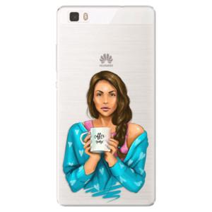 Silikonové pouzdro iSaprio (mléčně zakalené) Coffee Now Brunetka na mobil Huawei P8 Lite