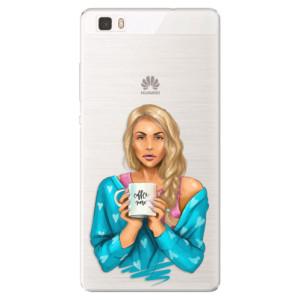 Silikonové pouzdro iSaprio (mléčně zakalené) Coffee Now Blondýna na mobil Huawei P8 Lite