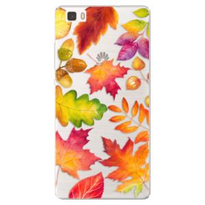 Silikonové pouzdro iSaprio (mléčně zakalené) Podzimní Lístečky na mobil Huawei P8 Lite