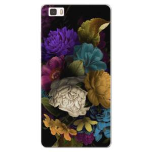 Silikonové pouzdro iSaprio (mléčně zakalené) Temné Květy na mobil Huawei P8 Lite