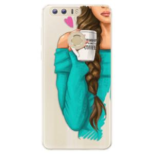 Silikonové pouzdro iSaprio (mléčně zakalené) Brunetka s kafčem na mobil Honor 8