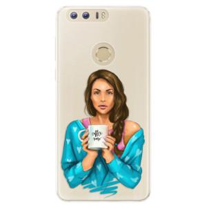 Silikonové pouzdro iSaprio (mléčně zakalené) Coffee Now Brunetka na mobil Honor 8