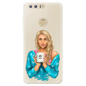 Silikonové pouzdro iSaprio (mléčně zakalené) Coffee Now Blondýna na mobil Honor 8