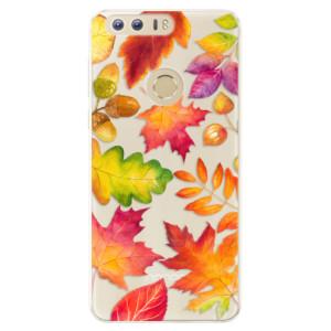 Silikonové pouzdro iSaprio (mléčně zakalené) Podzimní Lístečky na mobil Honor 8