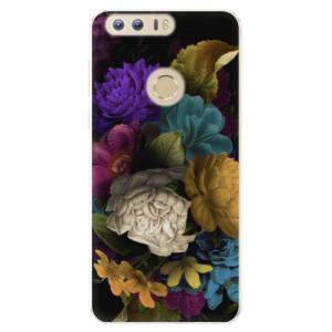 Silikonové pouzdro iSaprio (mléčně zakalené) Temné Květy na mobil Honor 8