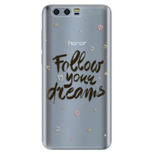 Silikonové pouzdro iSaprio (mléčně zakalené) Follow Your Dreams černý na mobil Honor 9