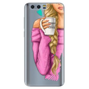 Silikonové pouzdro iSaprio (mléčně zakalené) Blondýnka s kafčem na mobil Honor 9