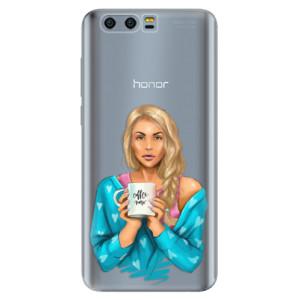 Silikonové pouzdro iSaprio (mléčně zakalené) Coffee Now Blondýna na mobil Honor 9