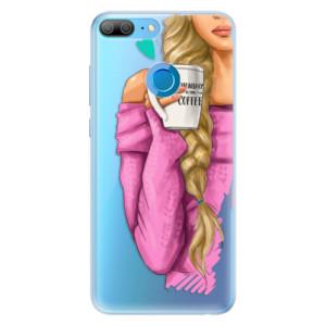 Silikonové pouzdro iSaprio (mléčně zakalené) Blondýnka s kafčem na mobil Honor 9 Lite