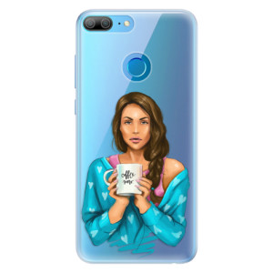 Silikonové pouzdro iSaprio (mléčně zakalené) Coffee Now Brunetka na mobil Honor 9 Lite