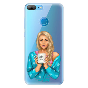 Silikonové pouzdro iSaprio (mléčně zakalené) Coffee Now Blondýna na mobil Honor 9 Lite