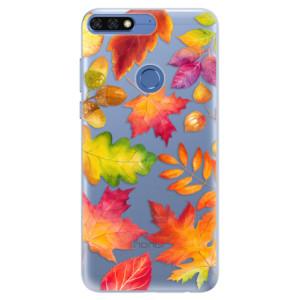 Silikonové pouzdro iSaprio (mléčně zakalené) Podzimní Lístečky na mobil Honor 7C