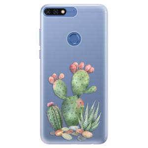 Silikonové pouzdro iSaprio (mléčně zakalené) Kaktusy 01 na mobil Honor 7C