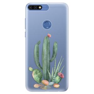 Silikonové pouzdro iSaprio (mléčně zakalené) Kaktusy 02 na mobil Honor 7C