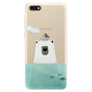 Silikonové pouzdro iSaprio (mléčně zakalené) Medvěd s Lodí na mobil Honor 7S