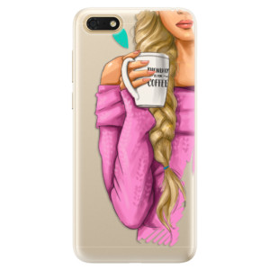 Silikonové pouzdro iSaprio (mléčně zakalené) Blondýnka s kafčem na mobil Honor 7S