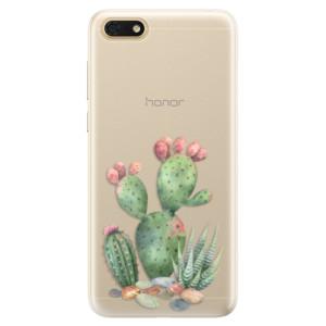 Silikonové pouzdro iSaprio (mléčně zakalené) Kaktusy 01 na mobil Honor 7S