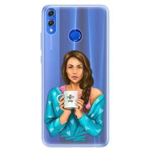 Silikonové pouzdro iSaprio (mléčně zakalené) Coffee Now Brunetka na mobil Honor 8X