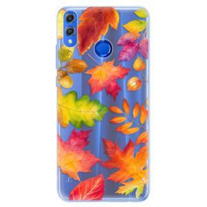 Silikonové pouzdro iSaprio (mléčně zakalené) Podzimní Lístečky na mobil Honor 8X