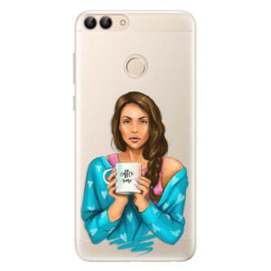 Silikonové pouzdro iSaprio (mléčně zakalené) Coffee Now Brunetka na mobil Huawei P Smart