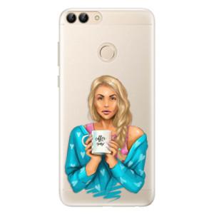 Silikonové pouzdro iSaprio (mléčně zakalené) Coffee Now Blondýna na mobil Huawei P Smart