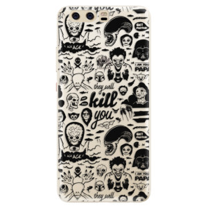 Silikonové pouzdro iSaprio (mléčně zakalené) Komiks 01 black na mobil Huawei P10