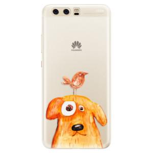 Silikonové pouzdro iSaprio (mléčně zakalené) Pejsek a Ptáček na mobil Huawei P10