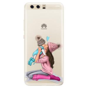 Silikonové pouzdro iSaprio (mléčně zakalené) Kissing Mom Brunette and Boy na mobil Huawei P10