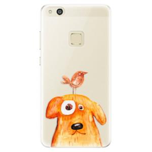 Silikonové pouzdro iSaprio (mléčně zakalené) Pejsek a Ptáček na mobil Huawei P10 Lite