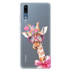 Silikonové pouzdro iSaprio (mléčně zakalené) Žirafa Dámička na mobil Huawei P20 - poslední kousek za tuto cenu