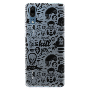 Silikonové pouzdro iSaprio (mléčně zakalené) Komiks 01 black na mobil Huawei P20