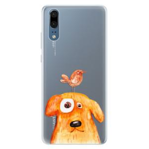 Silikonové pouzdro iSaprio (mléčně zakalené) Pejsek a Ptáček na mobil Huawei P20