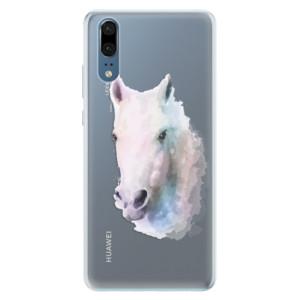 Silikonové pouzdro iSaprio (mléčně zakalené) Bílý kůň 01 na mobil Huawei P20