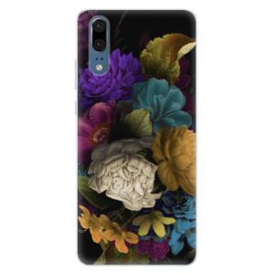 Silikonové pouzdro iSaprio (mléčně zakalené) Temné Květy na mobil Huawei P20