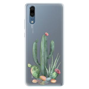 Silikonové pouzdro iSaprio (mléčně zakalené) Kaktusy 02 na mobil Huawei P20