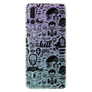 Silikonové pouzdro iSaprio (mléčně zakalené) Komiks 01 black na mobil Huawei P20 Pro