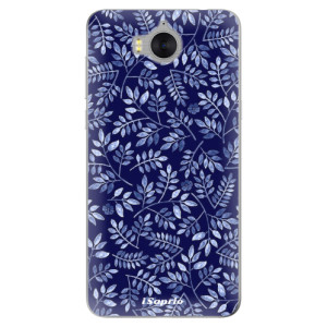 Silikonové pouzdro iSaprio (mléčně zakalené) Blue Leaves 05 na mobil Huawei Y5 2017 / Y6 2017