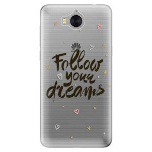 Silikonové pouzdro iSaprio (mléčně zakalené) Follow Your Dreams černý na mobil Huawei Y5 2017 / Y6 2017