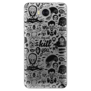 Silikonové pouzdro iSaprio (mléčně zakalené) Komiks 01 black na mobil Huawei Y5 2017 / Y6 2017