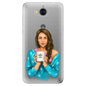 Silikonové pouzdro iSaprio (mléčně zakalené) Coffee Now Brunetka na mobil Huawei Y5 2017 / Y6 2017