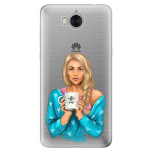 Silikonové pouzdro iSaprio (mléčně zakalené) Coffee Now Blondýna na mobil Huawei Y5 2017 / Y6 2017