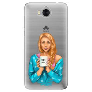 Silikonové pouzdro iSaprio (mléčně zakalené) Coffee Now Zrzka na mobil Huawei Y5 2017 / Y6 2017