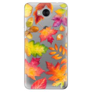 Silikonové pouzdro iSaprio (mléčně zakalené) Podzimní Lístečky na mobil Huawei Y5 2017 / Y6 2017