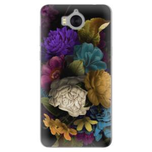 Silikonové pouzdro iSaprio (mléčně zakalené) Temné Květy na mobil Huawei Y5 2017 / Y6 2017